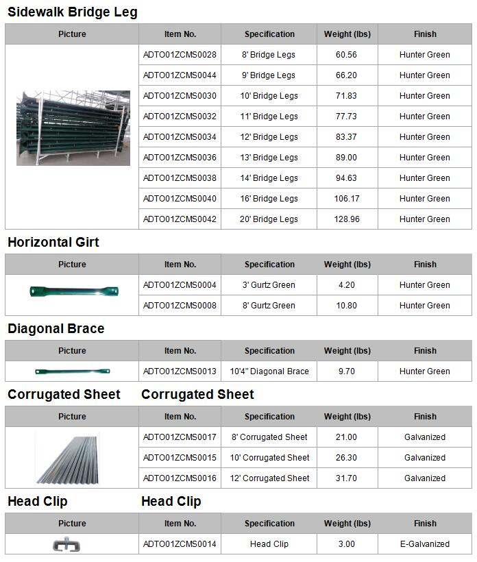 Powder coated bridge leg_American-Scaffolding/Frame-System/American-Scaffolding-Sidewalk-Sheds-System-specifications_032