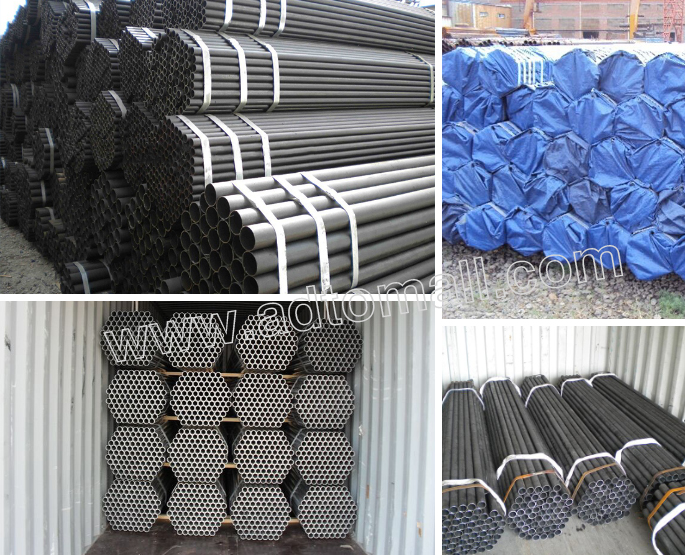 black scaffolding tube packaging and shipping